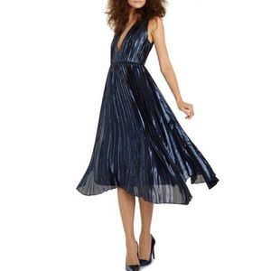 Alice + Olivia Alexandra pleated blue gown dress